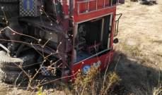 النشرة: انقلاب آلية للدفاع المدني شرق صيدا وإصابة سائقها برضوض
