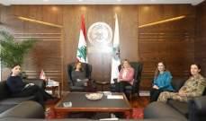 كلودين عون عرضت مع عكر تنفيذ خطة العمل لتطبيق قرار مجلس الأمن حول المرأة والسلام