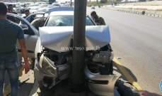 4 جرحى نتيجة اصطدام مركبة بعمود على اوتوستراد الاسد بإتجاه المدينة الرياضية