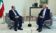 مصادر الشرق الأوسط: لقاء عون- بري أمس كان لتوحيد الجهود بهدف حلحلة الوضع الداخلي
