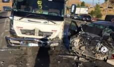 3 جرحى نتيجة تصادم بين بيك اب وسيارتين على اوتوستراد ضهر البيدر