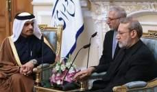 لاريجاني التقى وزير خارجية قطر: اغتيال الشخصيات الرسمية لا يُسمى سوى إرهاب دولة