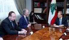 الرئيس عون بحث مع بيدرسون بانعكاسات الحرب السورية على لبنان وملف النازحين