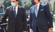 دياب استقبل كونتي في السراي وشكره على دعم إيطاليا للبنان