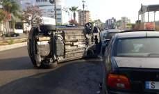 النشرة: إنقلاب سيارة في صيدا والأضرار مادية