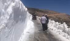 النشرة: طريق شبعا - راشيا عبر وادي جنعم مقطوعة بسبب سماكة الثلوج