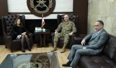 وزيرة الدفاع بحثت مع قائد الجيش بالتحديات الأمنية وإجراءات الجيش لضبط الأمن والاستقرار