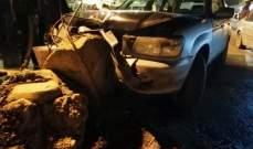 الدفاع المدني: جريحان اثر حادث سير على طريق عام بدنايل- بيت شاما