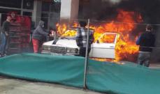 حريق داخل محطة وقود على اوتوستراد القلمون نتيجة ماس كهربائي في احدى السيارات