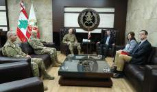 قائد الجيش التقى وفدا من بعثة اللجنة الدولية للصليب الأحمر في لبنان
