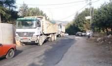 قطع الطريق في تنورين التحتا منعاً لمرور الشاحنات إلى سد بلعا