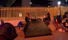 متظاهرون نصبوا الخيم أمام شركة كهرباء لبنان في الجميزة