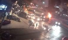 محتجون قطعوا مفرق عرمون بالاطارات المشتعلة