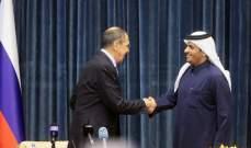 لافروف يبحث مع نظيره القطري تسوية أزمات المنطقة