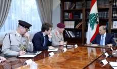 الرئيس عون تبلغ من مستشار الدفاع البريطانية دعم الجيش
