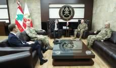 قائد الجيش تداول مع سفير بريطانيا في لبنان بعلاقات التعاون بين جيشي البلدين