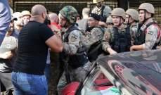 اشكال بين الجيش والمتظاهرين على أوتوستراد جل الديب