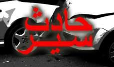 قتيل وجريحان نتيجة تصادم بين سيارتين على طريق عام شعت - بعلبك