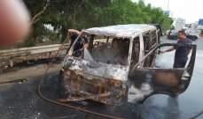النشرة: إخماد حريق فان لنقل الركاب على طريق الحسبة في صيدا