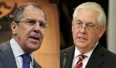 الخارجية الروسية: لافروف ناقش هاتفيا مع تيلرسون الوضع في سوريا