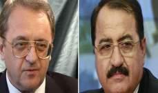 خارجية روسيا:بوغدانوف أكد للسفير السوري الدعم الثابت لسيادة ووحدة سوريا