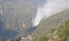 الدفاع المدني يعمل لإخماد حريق في محمية جبل موسى كسروان