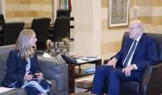 ميقاتي إستقبل سفيرة كندا ووزيري الصناعة والإتصالات وناقش مع غراندي مسألة النازحين