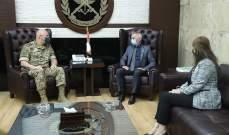 قائد الجيش يستقبل رئيس بعثة الصليب الأحمر الدولي في لبنان