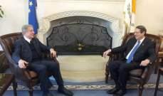 الجميل ورئيس قبرص توافقا على أهمية إنشاء مجموعة عمل تعنى بتقديم الحوار بين الدول والحضارات