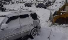 التحكم المروري: الطرقات المؤدية لمراكز التزلج بكفردبيان مقطوعة بسبب تراكم الثلوج