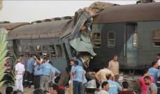 إصابة 13 شخصا جراء تصادم قطاري ركاب شمالي القاهرة