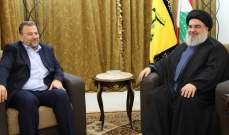 نصرالله أكد وقوف حزب الله مع حركة الجهاد الاسلامي في غزة