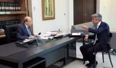 الرئيس عون إطّلع من فياض على نتائج المحادثات التي أجراها في القاهرة وعمان لإستجرار الطاقة الكهربائية