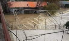 النشرة: الأمطار الغزيرة أدت ارتفاع إضافي بمنسوب مياه نهر الحاصباني