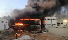 إصابة 8 أشخاص وفقدان 3 آخرين في حريق بمعمل دهانات وبلاستيك في حلب