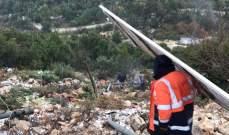 النشرة: الثلوج غطت مرتفعات إقليم التفاح والسيول تسببت بانهيارات صخرية على طريق جرجوع- اللويزة