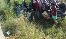 اصابة 3 أشخاص بجروح اثر انقلاب سيارتهم في العديسة