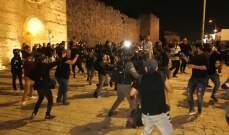 الهلال الأحمر الفلسطيني: 11 إصابة خلال مواجهات مع القوات الإسرائيلية بالمسجد الأقصى