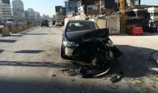 حادث تصادم بين مركبتين على الطريق البحرية جل الديب والاضرار مادية