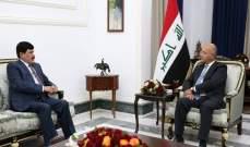 رئيس العراق استقبل سفير سوريا: استقرار المنطقة مرتبط باستقرار بغداد ودمشق