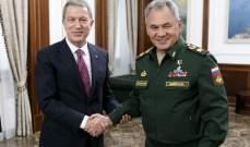 وزير الدفاع التركي بحث مع نظيره الروسي بوقف إطلاق النار في قره باغ والأوضاع بسوريا