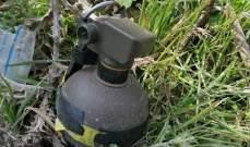 النشرة: الجيش فكك قنبلة هجومية وُجدت بحقل قرب طريق الفيكاني رعيت بزحلة