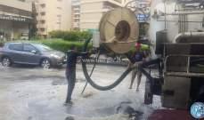 معالجة تجمع المياه محلة الحايك من قبل فريق عمل وزارة الاشغال