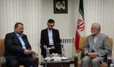 خرازي التقى العاروري: تحرير فلسطين والقدس أحد تطلعات إيران