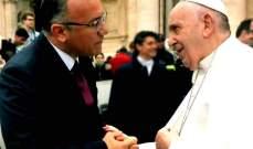 درويش شكر البابا فرنسيس لتقديمه 400 منحة دراسية للبنان