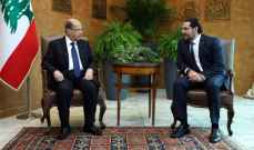 خلوة ثنائية بين الرئيس عون والحريري بعد خروج بري