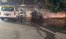 احتراق سيارة في ميرنا الشالوحي والدفاع المدني عمل على اخمادها