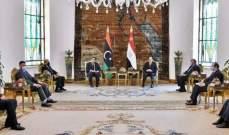 السيسي أكد دعم بلاده الكامل للسلطة التنفيذية بليبيا: مستعدون لتقديم خبراتنا للحكومة