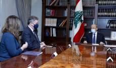 الرئيس عون التقى جون ديروشيه: لبنان المتمسك بسيادته يريد نجاح المفاوضات حول الحدود البحرية