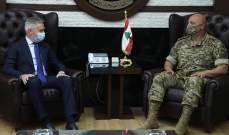 قائد الجيش عرض مع غويريني المساعدات الايطالية وبحث ولامب العلاقات بين لبنان وبريطانيا